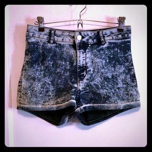 H&M Acid Wash High-Waisted Shorts